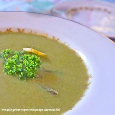 German Asparagus Soup! Check out  http://www.quick-german-recipes.com/asparagus-soup-recipe.html for the recipe