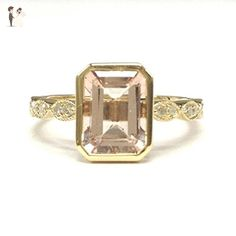 Emerald Cut Morganite Engagement Ring Art Deco Shank 14K Yellow Gold 6x8mm - Wedding and engagement rings (*Amazon Partner-Link)