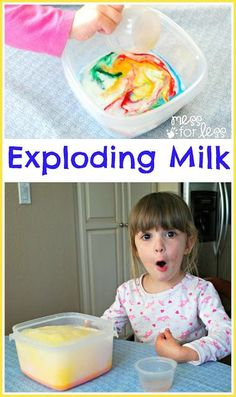 Find out how to make Exploding Milk in vibrant colors. Great science experiment for kids! Science Experiments For Preschoolers, Science Classroom, Science Lessons, Teaching Science, Science For Kids, Science Fun, Summer Science, Chemistry Experiments, Milk Science Experiment