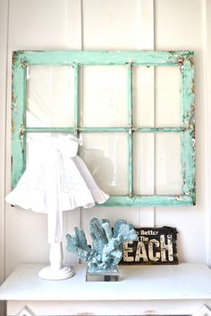 Heavy old vintage window | Wall decor Shabby beach by Anniesimages