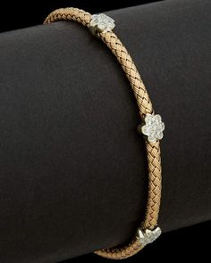 Meshmerise 14K Rose Gold 0.25 Ct. Tw. Diamond Flower Bracelet Mens Gold Bracelets, Gold Bangle Bracelet, Flower Bracelet, Rose Gold Bangles, Diamond Bracelets, Diamond Jewelry, Jewelry Bracelets, Gold Jewellery, Fine Jewelry