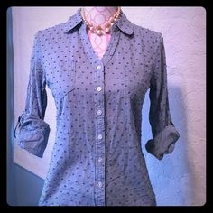 Cute button down shirt Sleeve can be rolled down. No stains in good condition. Pink Rose Tops Button Down Shirts