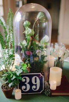 Chateau Bellevue Winter Wedding | Unique Bell Jar Floral Arrangement & Centerpiece | by The Nouveau Romantics