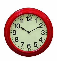 Special Offers - Creative Co-Op Urban homestead Round Metal Wall Clock 16-Inch Red - In stock & Free Shipping. You can save more money! Check It (October 04 2016 at 08:07AM) >> http://wallclockusa.net/creative-co-op-urban-homestead-round-metal-wall-clock-16-inch-red/