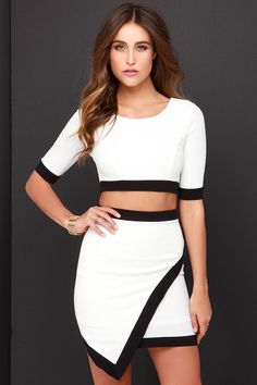 Tickle the Ivories Black and Ivory Two-Piece Dress at Lulus.com!