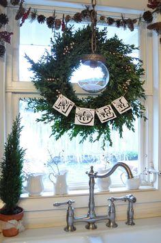 Wreath in kitchen window