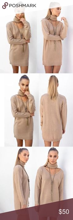 The Julia Roberts long top/ mini dress This is a gorgeous mock turtleneck high neck cut out deep v long sleeve mini dress. If you prefer it would look great as a long sweater with leggings or jeans. Cotton blend. Color khaki ( because of lighting color may be a little off) comes in small/4-6 medium/8-10 large/12-14 xlarge/16 Dresses Mini