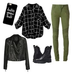 """Untitled #481"" by veiinticuatro ❤ liked on Polyvore featuring Balmain, Frye and Paige Denim"