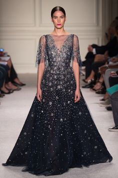 Belle of the Ball black Gown with Silver Embellishments - Marchesa Spring 2016 Ready-to-Wear Collection Photos - Vogue