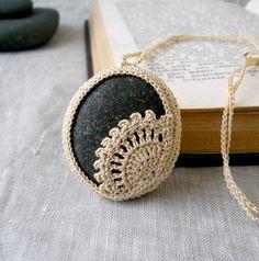 Crochet Stone Necklace - Crochet Jewelry - Lace Stone Necklace - Beach Stone Lacy Pendant - Beach Wedding Necklace - Large Rock Necklace. $30.00, via Etsy.