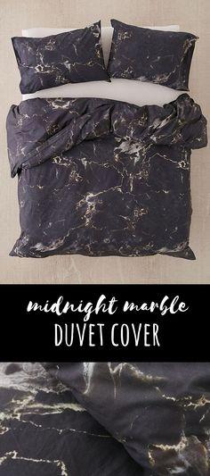 Gorgeous marbled looking black duvet comforter! #bedroomideas #darkbedroom #gothicbedroom #bedding #afflink