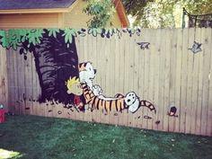 Calvin & Hobbs fence art