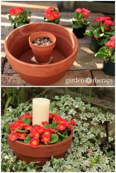 Make a flower pot candle holder with two terracotta pots, some pebbles, annuals, and a pillar candle. This outdoor candle planter can be made in just 10 minutes. Annuals, terracotta pots and a candle as the centerpiece makes beautiful outdoor table decor. Diy Garden, Garden Crafts, Garden Planters, Lawn And Garden, Garden Projects, Garden Art, Garden Design, Garden Ideas, Diy Crafts