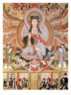 Buddhist Banner Depicting Dizang and the Six Roads to Rebirth, from Dunhuang (Painting on Silk) Giclee Print at AllPosters.com
