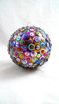 Sequin Ornaments, Button Ornaments, Diy Christmas Ornaments, Christmas Holidays, Christmas Bulbs, Ball Ornaments, Felt Christmas, Christmas Stuff, Retro Christmas Decorations