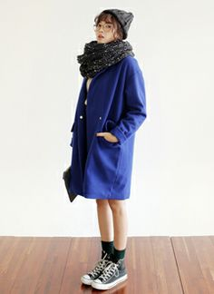 fa1c140ff4d Cool fall outfit with the large royal blue coat