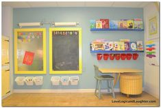 An Art Wall in A Playroom. Collapsable fold down table, organized art supplies w… An Art Wall in A Playroom. Collapsable fold down table, organized art supplies with Ikea items, magnetic chalkboards, ledge shelves for coloring books Playroom Organization, Playroom Decor, Playroom Design, Colorful Playroom, Organized Playroom, Small Playroom, Organization Ideas, Garage Playroom, Fold Down Table