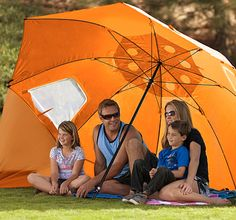 Sport-brella family beach umbrella - amazing reviews and we can see why.