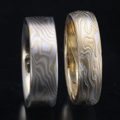18ct yellow gold and Stirling Silver in flat non etched design, and half round etched design. Available in widths 3-10mm. Mokume-gane wedding bands matching coordinating wedding rings James Binnion Metal Arts at Jewellery Design Studio Australia.