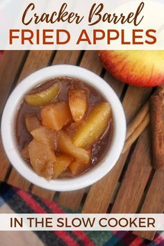An absolutely delicious copycat Cracker Barrel fried apples recipe you can make right at home in your slow cooker. #SlowCookerRecipes #Copycat #AppleRecipes