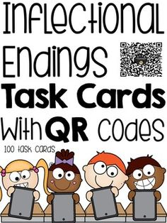 ***This a great resource for practicing Inflectional Endings in a fun way!*** 100 task cards are included all using QR codes and they are accompanied with Recording Sheets and Key Pages.You can also pair it with my best selling resource: Inflectional EndingsThe endings practiced are:-s,-es,-ies -ed-ing-r,-er,-ier-st,-est,-iest***************************************************************************Related ProductsPresent Tense Task Cards (-ing)Present Tense Task Cards (-s, -es, -ies)Simple…