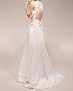 Vestido de Noiva Vintage UMA LINHA Vestido de Noiva com V profundo laço Flores Neck Chiffon Prom curativos por oldrose