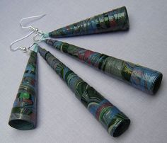 Conical earrings made from rolled marbled paper | Flickr - Photo Sharing!