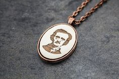 Edgar Allan Poe Pendant  Laser Etched Wood White by OnceAgainSam