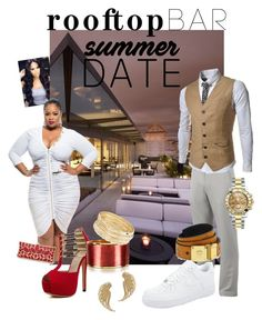 """Date Night on the Roof "" by pretty-n-pluss on Polyvore featuring Mallarino, Dsquared2, Ross-Simons, Fila, TheLees, NIKE, MCM, Rolex, summerdate and rooftopbar"