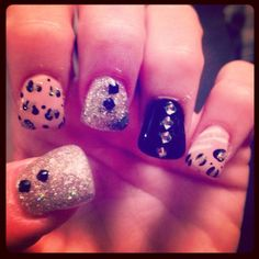 #nails #nailart # leopard #bling #goldglitter #love