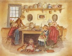 Tasha Tudor offers us not only exquisite illustration, but a look into the past that we can learn from in making family today. This looks a whole lot more delightful than having a TV blaring and everyone engrossed in electronica (not that I don't get the irony of this post).