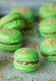 Caramel and Green Apple Macarons – suzie sweet tooth Apple Dessert Recipes, Just Desserts, Baking Recipes, Cookie Recipes, Delicious Desserts, Yummy Food, Baking Desserts, Health Desserts, Tasty