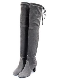 Gray Over the Knee Boots Stretch Suede Laced Back High Heels Boots
