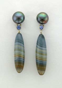 Micky Roof custom dangle earrings in 14K White Gold with Saturn Jasper, Tanzanite and Freshwater Pearl