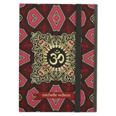 Decorative Gold and black with pink diamond eye pattern design centred with a golden sunshine #Om Sanskrit symbol. #iPad #newage #yoga #red