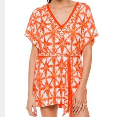 MICHAEL Michael Kors V-Neck Tunic Cover-Up ☀️ New with tags. You'll look fabulous in the MICHAEL Michael Kors® Glazed Tile V-Neck Tunic Cover-Up. Plunging V-neckline. Short sleeves. Removable tie belt at waist. Straight hem. Pull-on design. 91% polyester, 9% spandex. MICHAEL Michael Kors Swim Coverups
