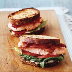 Salmon BLTs with Lemon-Dill Mayo  yum yum yum yum....  Made during this summer, fresh dill makes it so much better.