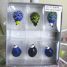 Custom hand blown glass Munuola cartoon sculpture garden Home Furnishing hedgehog glass animal decoration gift set