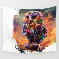 brave+little+owl+Wall+Tapestry+by+Ururuty+-+$39.00