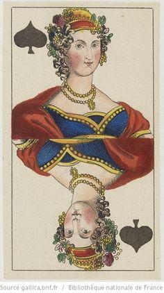 """[Jeu de tarot à enseignes françaises dit du """"Freischütz"""", d'après l'opéra de Carl Maria von Weber] : [jeu de cartes, estampe] ([État avec numérotation en chiffres romains]) / Wolf fecit 1824 Auteur : Wolf, J. (17..?-18.. ; graveur). Graveur Éditeur : [C. L. Wüst ?] (Francfort) Date d'édition : 1824 Sujet : Tarot (jeu) Type : image fixe Format : 1 jeu de 78 cartes : gravure à l'eau-forte coloriée au pinceau ; 10,6 x 6 cm Format : image/jpeg Droits : domaine public Identifiant…"""