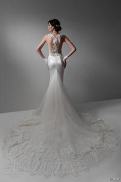 jillian 2017 bridal sleeveless illusion jewel v neckline heavily embellished bodice satin skirt elegant sheath wedding dress illusion back chapel train (mirta) bv