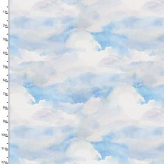 Clouds Quilting Fabric from the Sunflower Stampede Collection by John Keeling from 3 Wishes, 16599-BLU-CTN-D - 1/2 yd. cut