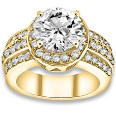 1.06ctw Round Brilliant VS2-SI1 Quality I-J Color Diamond with Accent Stone White Diamonds Engagement Ring. #engagementrings #jewelry #pricepointshop