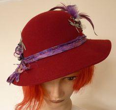 Maroon wool Hat festival Hat Fantasy Hat by LulunaClothing on Etsy
