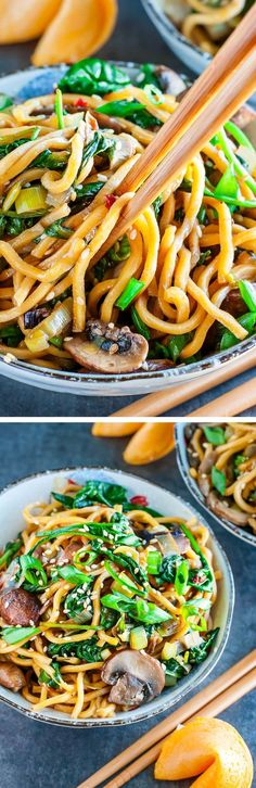 Take-out inspired Spinach Mushroom Leek Long Life Noodles tossed in the most amazing homemade sesame sauce. Pair with your favorite protein, or enjoy all on it's own as a tasty vegan/vegetarian main or side!
