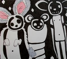 #art #ilustration #blackandwhite #picture #drawing #penandink #ink #mouse #mice #drawing #sketchbook #cute #moleskine #draw #fineart #bunny #rabbit