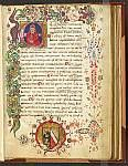 Historiated initial and border with blazon, Northeast Italy, (Venice?), 1st half of the 15th century