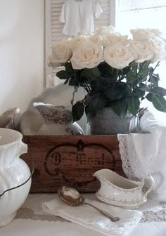 . . . Cabin & Cottage dreamy whites, baskets and Ironstone