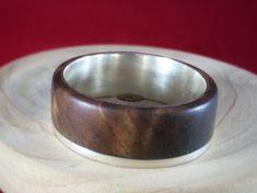 wood ring Asymmetric Walnut and Sterling Silver wedding ring