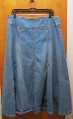 $19.99 KIKIT JEANS Long Modest Denim Skirt Womens Size 14 Ankle Modesty Full Cut #KikitJeans #FullSkirt #freeshipping